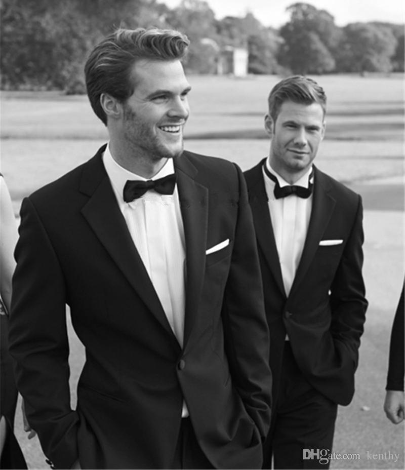 Custom Made 2018 Latest Coat Pant Designs Black Suits Men Skinny Wedding Suits For Man Bridegroom Groom Best Man Tuxedo Jacket+Pants