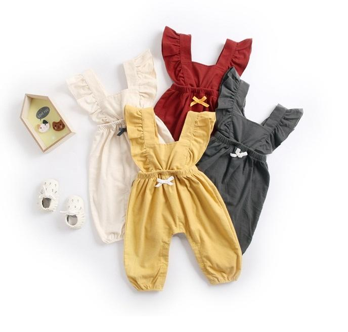 Mother & Kids Toddler Baby Girl Boy Sleeveless Color Solid Ruffles Romper Newborn Bow Jumpsuit Clothes Kinder Kleider Onesies Children Clothes