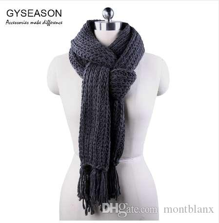 15a003dca85 Winter Scarf For Men Women Acrylic Knitted Long Tassel Grey Thick Warm Soft  Unisex Scarf Female Echarpe Lady Scarf Male Muffler Scarves For Men Mens  Scarf ...