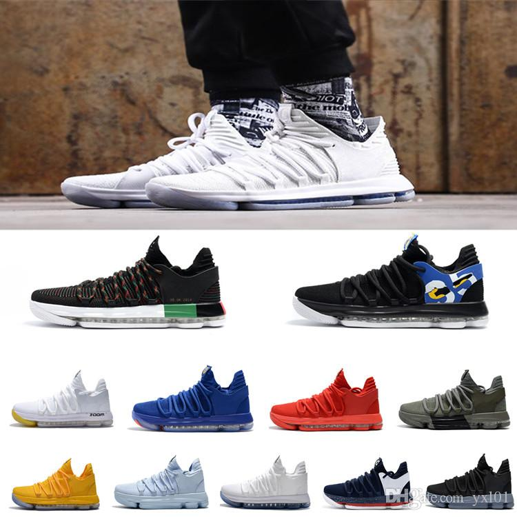 new style 9f4f7 f72b2 Cheap Sale 2018 All Colors Kevin Durant 10 PE BHM Black White Ten  Basketball Shoes for Men s KD X 10s Elite Blue Orange Sport Sneakers 40-46