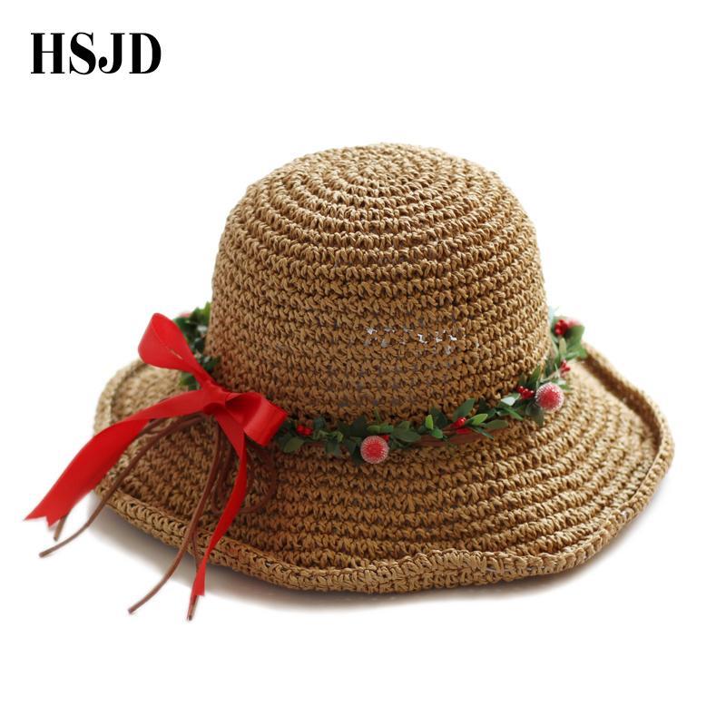 2018 Cute Girl Sun Hat Red Bow Belt Handmade Crochet Straw Hat For Women  Summer Anti Uv Wide Brim Sun Beach Sea Women S Hats Black Hats Scala Hats  From ... 06294f47ff7