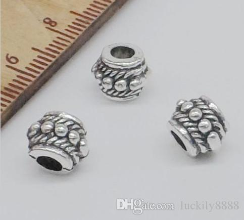 Free Ship Tibetan Silver alloy Big Hole Spacer Beads For Jewelry Making 8x6mm