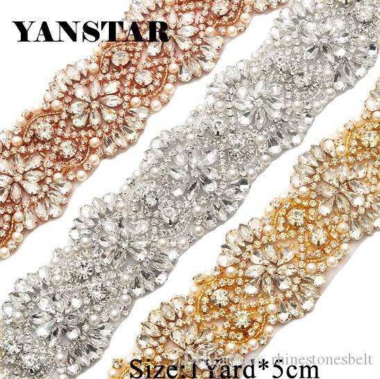 735c18c08f YANSTAR Handmade 5CM*1Yard Sewing Bridal Beaded Rose Gold Clear Crystal  Rhinestones Appliques Trim For Wedding Dress Belt YS821
