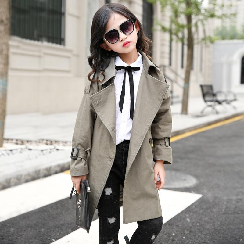 6a36cc3d72c3 Teenage Girl Trench Coat Autumn England Style Kids Fashion Long Windbreaker  Children School Outerwear Girls Coats 8 To 10 Years Black Trench Coat ...