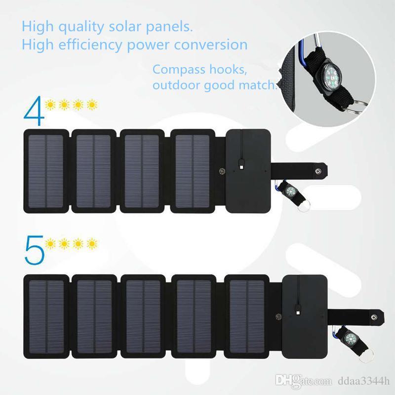 썬파워 나침반 10W 태양 광 충전기 직접 충전 배터리는 전자 제품에 대한 태양 광 발전 은행 이동식 태양 광 충전기 케이스 접이식