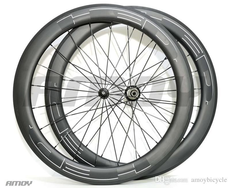 el envío libre de 23 mm de anchura pintura negro HED 38/50/60 / 88mm bicicleta del carbón del eje montado ruedas de bicicleta de carretera de carbono 700C completa