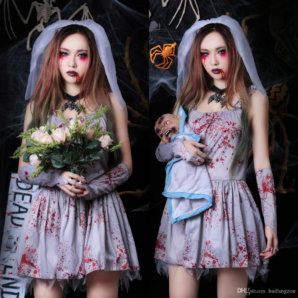 2018 new arrival halloween costumes for adults vampire bride short