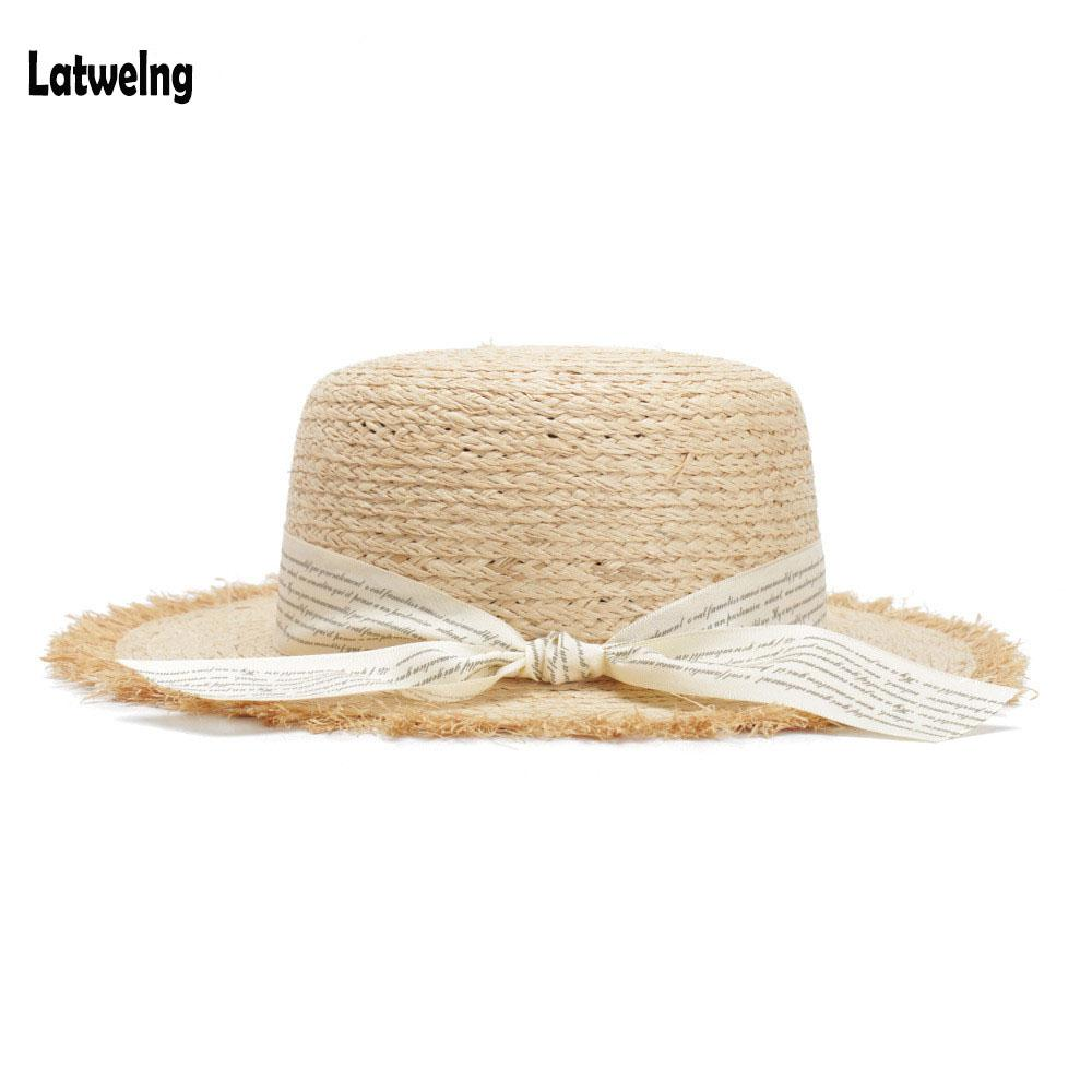 3d2a0e1f83f Womens Straw Hats Panama Sun Visor Raffia Hat For Women Gilrs Letter  Streamer Wide Brim Beach Caps Flat Top Summer Cap 2018 Womens Straw Hats  Hat Panama ...