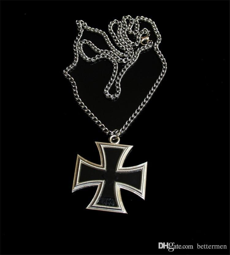 ww2 wwii German iron cross medal badge with metal chain Necklace double  sides alloy Germany Souvenirs