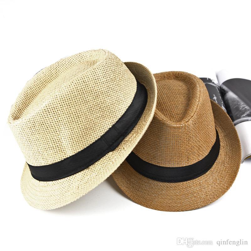 7373a738b775 Sombrero de paja de jazz para hombre Sombrero de sol casual de Panamá para  hombres Sombrero de playa de moda de verano para hombre Gorros de visera ...