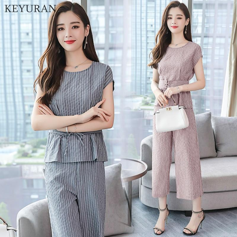 9929f3ca4c 2019 2018 Summer New Fashion Suit Women O Neck Short Sleeved Slim ...