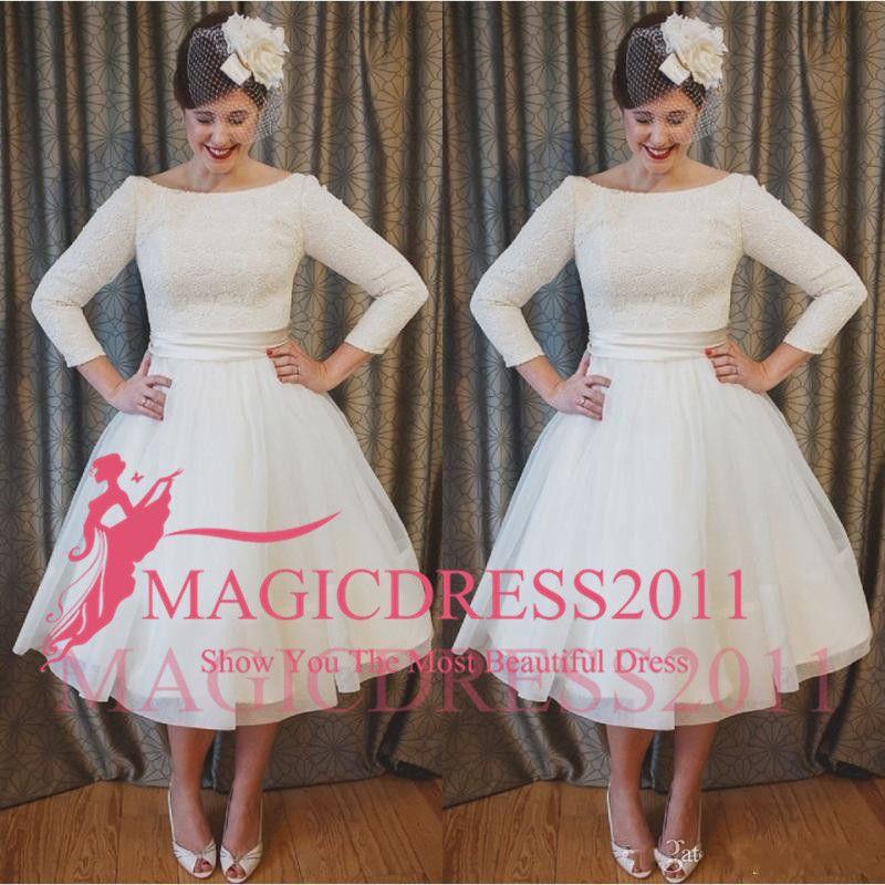 Discount 2018 Plus Size Short Wedding Dresses Vintage Style Scoop