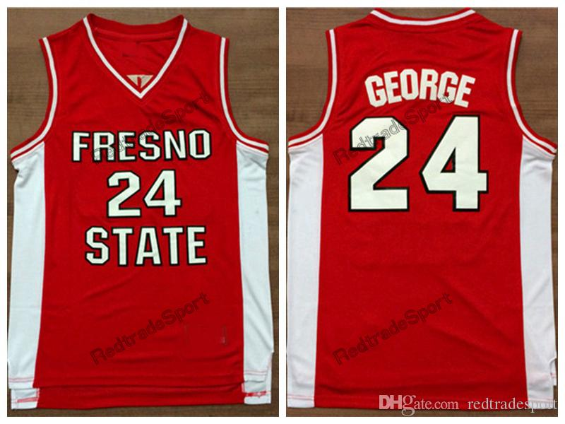 size 40 97693 83e09 Vintage Fresno State Bulldogs Paul George College Basketball Jerseys Home  Red Paul George #24 University Basketball Stitched Shirts