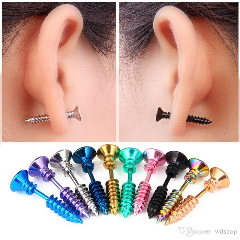 Screw Earrings Men'S Women'S Stainless Steel Punk Hip-Hop Rock Screw Spike Rivet Stud Earring Nail Piercing Ear Studs Jewelry