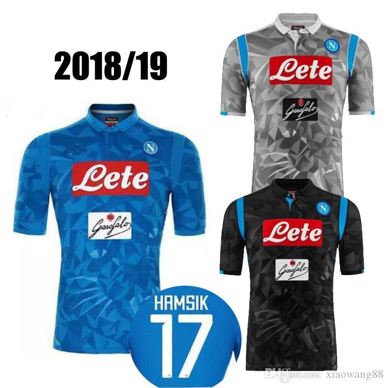 06d9790da2adb 2018 2019 Serie A Naples New Napoli Camisetas De Fútbol De Local Camisetas  Azules De Fútbol De Napoli Camiseta De Hombre 18 19 HAMSIK L.INSIGNE PLAYER  Por ...