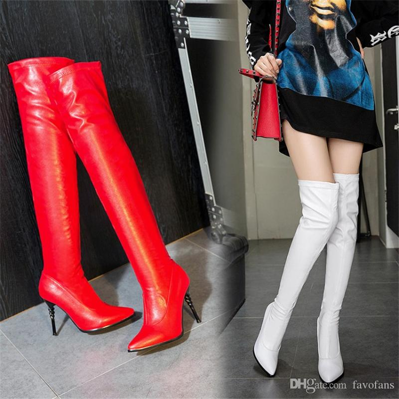 00ee0a2b4d67 Favofans Hot Sale Womens Over The Knee Thigh High Stiletto Heel Ladies  Stretch Boots B935 US Size 4 10.5 Black Red White Boot Ankle Boots From  Favofans