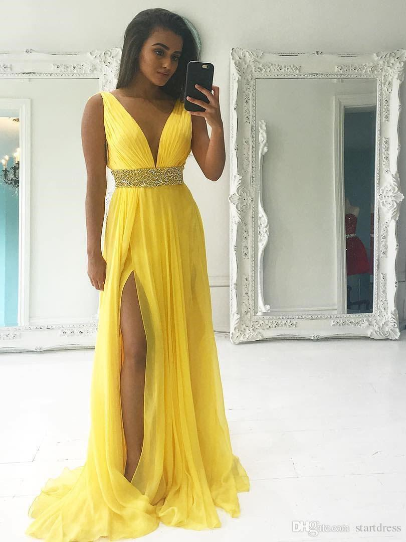 b43b1dda46 Yellow Chiffon Long Prom Dresses 2018 Plunge Neckline Pleat Beaded Sash  Elegant Summer Evening Gowns Black Girl African Plus Size Party Slit Terani  Evening ...
