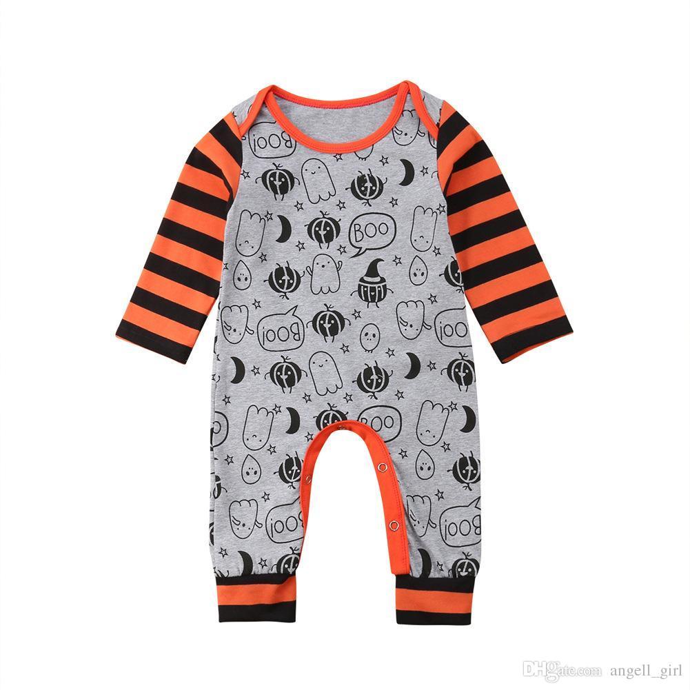 2018 halloween costume baby girls boys pumpkin ghost print romper