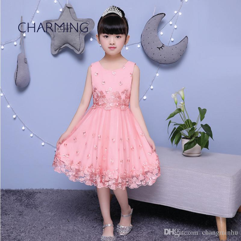 94bb43997 Compre Vestido Rosa Para Niñas Vestidos Sencillos Para Niñas De Flores  Temporada De Apertura Vestidos De Ceremonia De Graduación Vestido Para  Niños Vestido ...