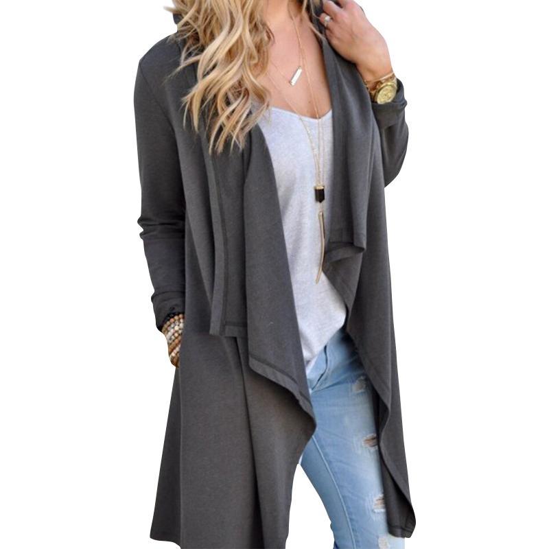 release date c321b 0757d Frauen-Strickjacke-Herbst-lange Hülsen-unregelmäßige lange weibliche graue  dünne Strickjacke lösen Damen-Mantel-dünne elegante Oberbekleidung ...