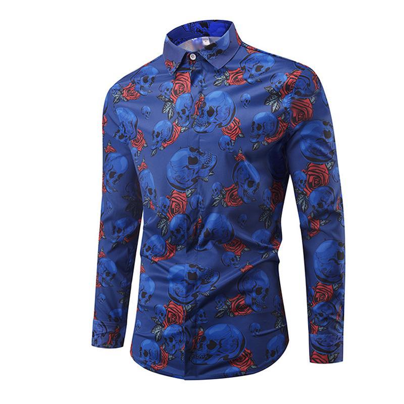 f2647c898b53 2019 ONSEME Blue Flower Skull Pattern Printed 3D Shirts Camisa Masculina  Mens Long Sleeve Casual Shirt Hawaiian Shirts Drop Shipping From Xiatian5,  ...