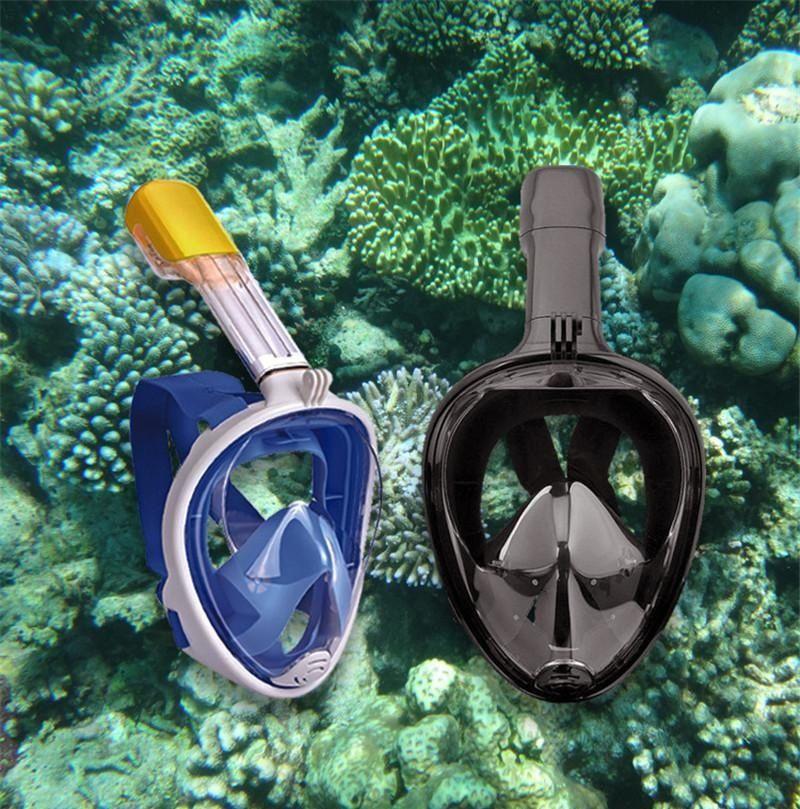 S/M L/XL Latest Underwater Diving Mask Snorkel Set Swimming Training Scuba mergulho full face snorkeling mask Anti Fog For Camera M773