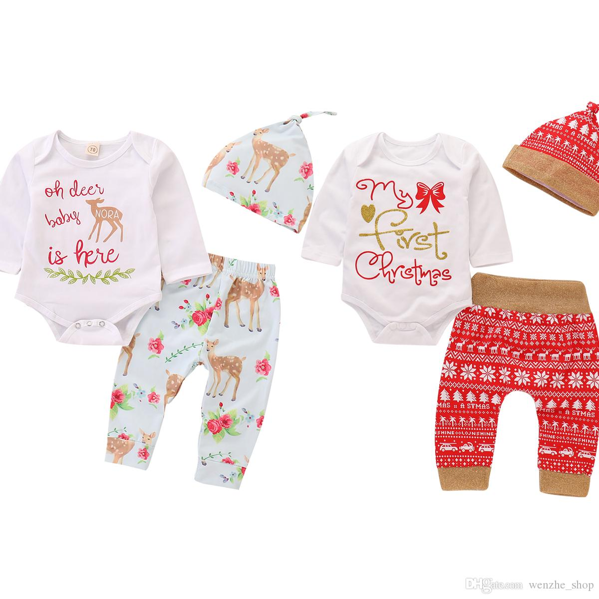 31a03463f Baby Clothes Christmas Kids Deer Floral Print Suits Xmas Ins Outfits ...