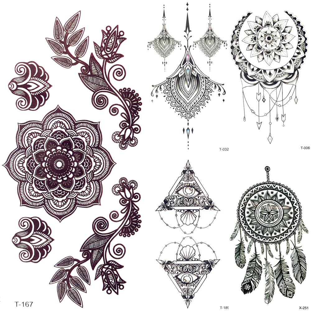 3D Black Mandala Flower Henna Temporary Tattoo Girl Pendants Tattoo  Stickers Women Fake Party Chest Tatoos Body Arm Art Painting