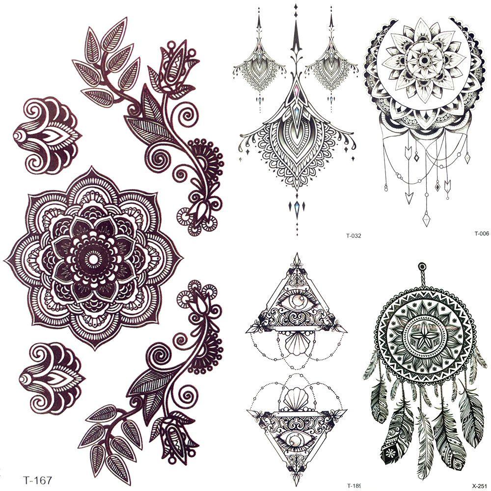 Satın Al 3d Siyah Mandala çiçek Kına Geçici Dövme Kız Kolye Dövme