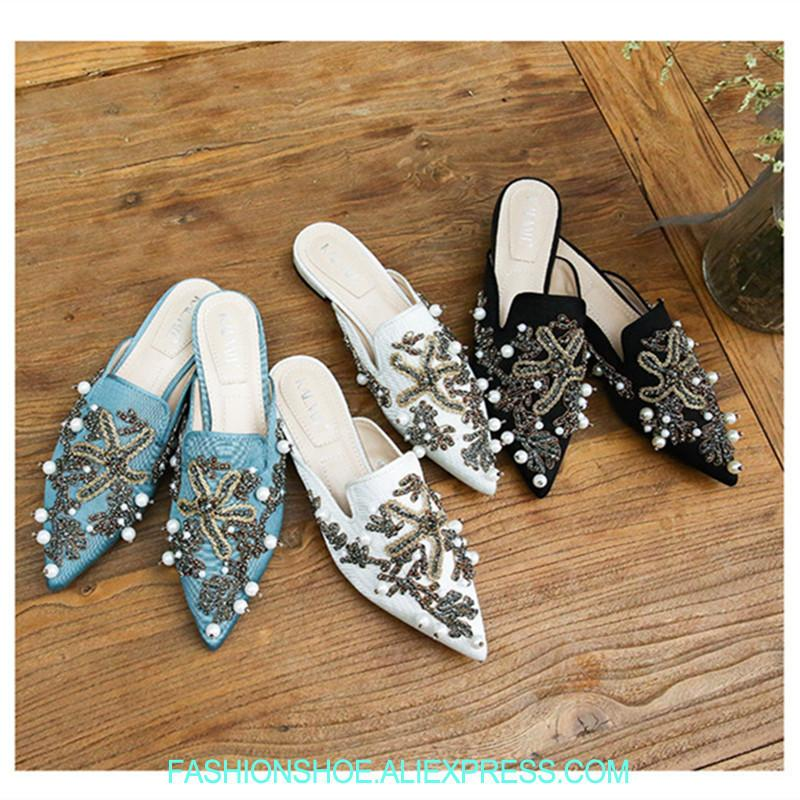 c81adce535ea5 Pearl Beading Pointy Toe Mules Starfish Coral Women Slippers Summer Sandals  Casual Flats Slip On Outside Slides Sandalias Mujer