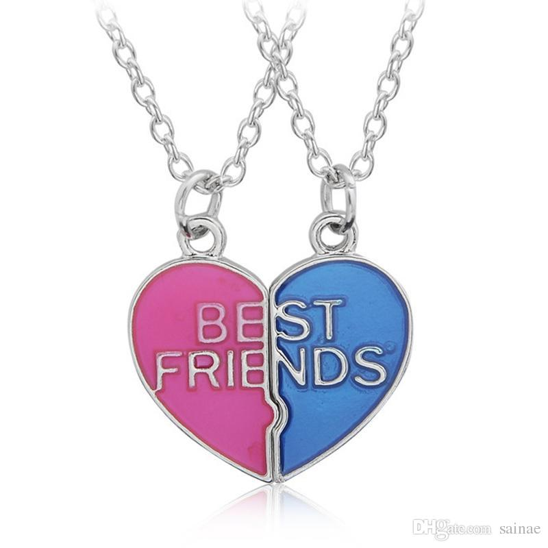 Wholesale- Hot Sale Heart Shaped Pendant Necklace Couple Broken Heart Best Friends Necklaces Trendy Colorful Friendship Jewelry For Girls