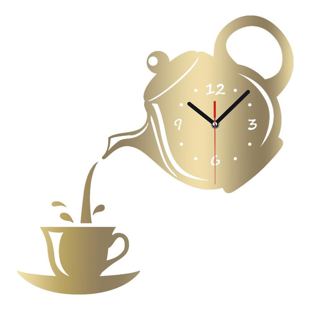 Meya Diy 3d Wall Clock Acrylic Coffee Cup Teapot Shape Decorative