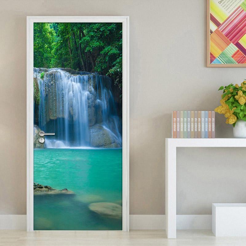 Waterfall Living Room Bedroom 3d Door Sticker Waterproof Wall Paper Door  Stickers Pvc Self Adhesive Mural Wallpaper Home Decor Best Widescreen  Wallpapers ...