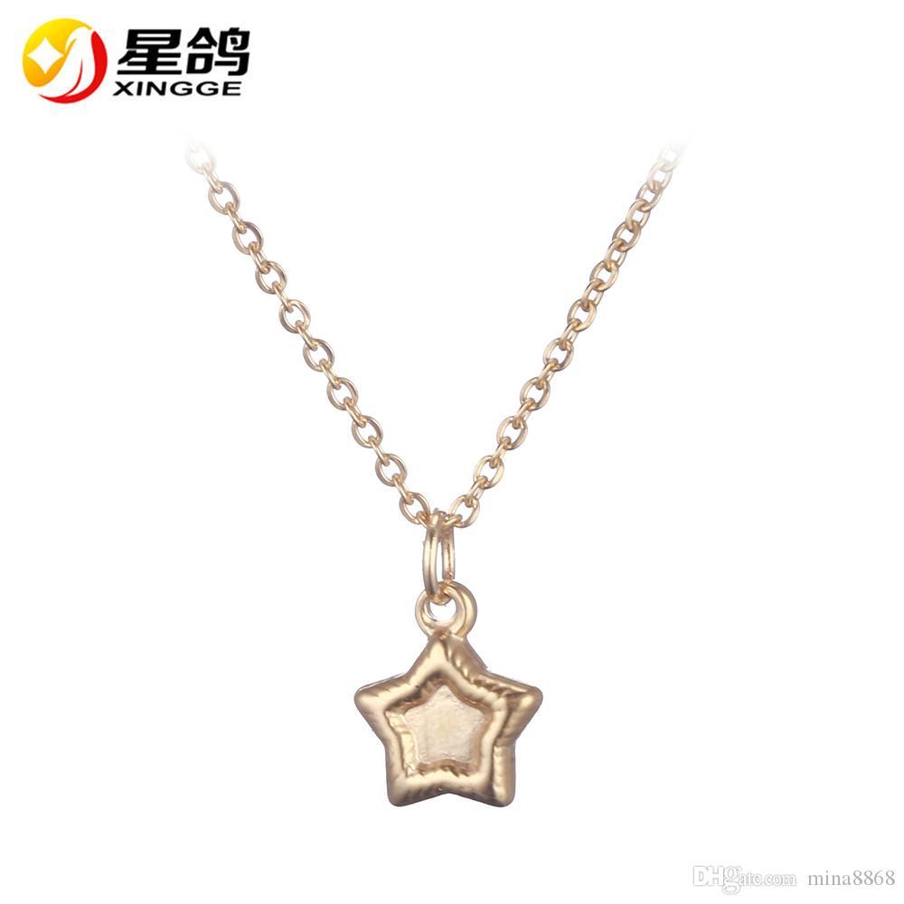 b04ce31daa5d Compre Plata   Oro Tono Estrella Colgante