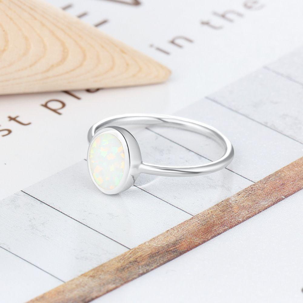 Oval halka Charm Lady Kız Gümüş Takı opal moda Tektaş Yüzük Parmak Yüzük 925 Gümüş beyaz yangın