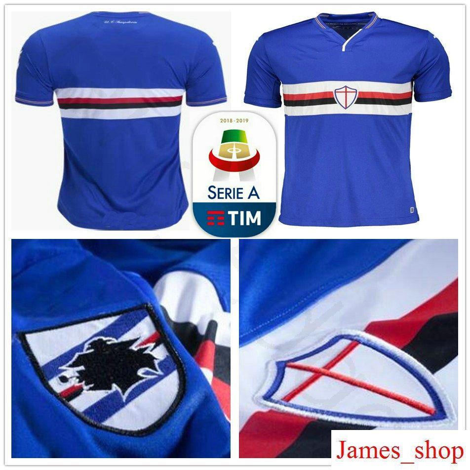 2018 2019 UC Sampdoria Camiseta De Fútbol Sala Ekdal Saponara Barreto Praet  Ramírez Caprari Quagliarella Personalizado Azul Casero 18 19 Camiseta De  Fútbol ... 70d4276ccc54e