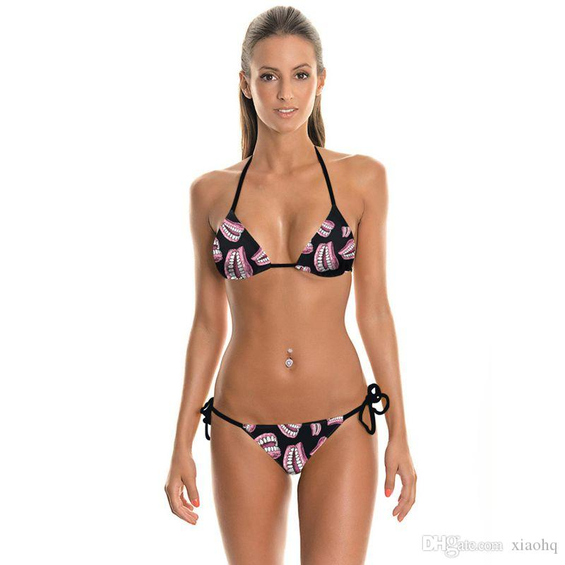 New Fashion Sexy Girl Summer Mouth Tooth 3D Prints Thongs Ropes Bikini Set Swimsuit Swimwear Women Bathing Suit