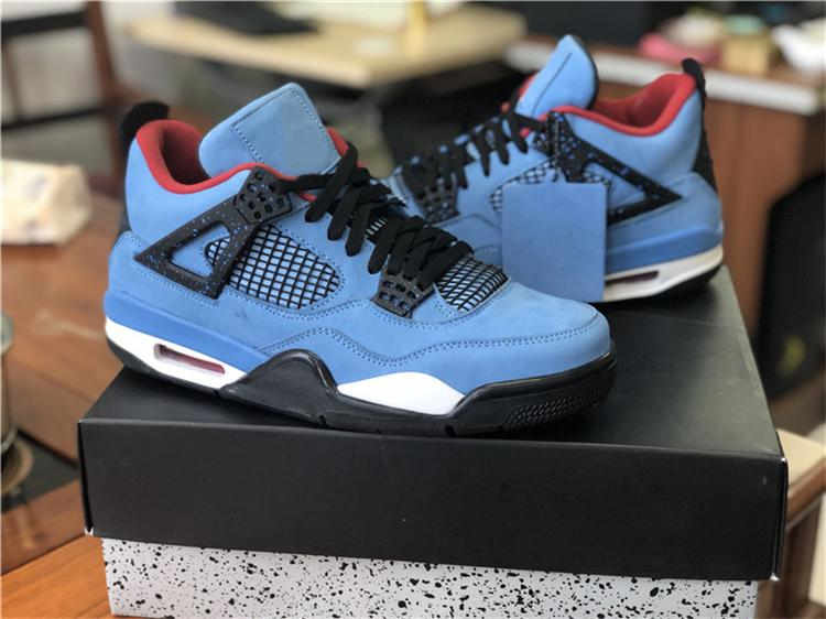 brand new 8d0b9 e48a4 FINAL VERSION 4 TRAVIS SCOTT CACTUS JACK HOUSTON OILERS MEN BASKETBALL  SHOES 308497-406 BLUE BLACK SNEAKERS SIZE 40-47