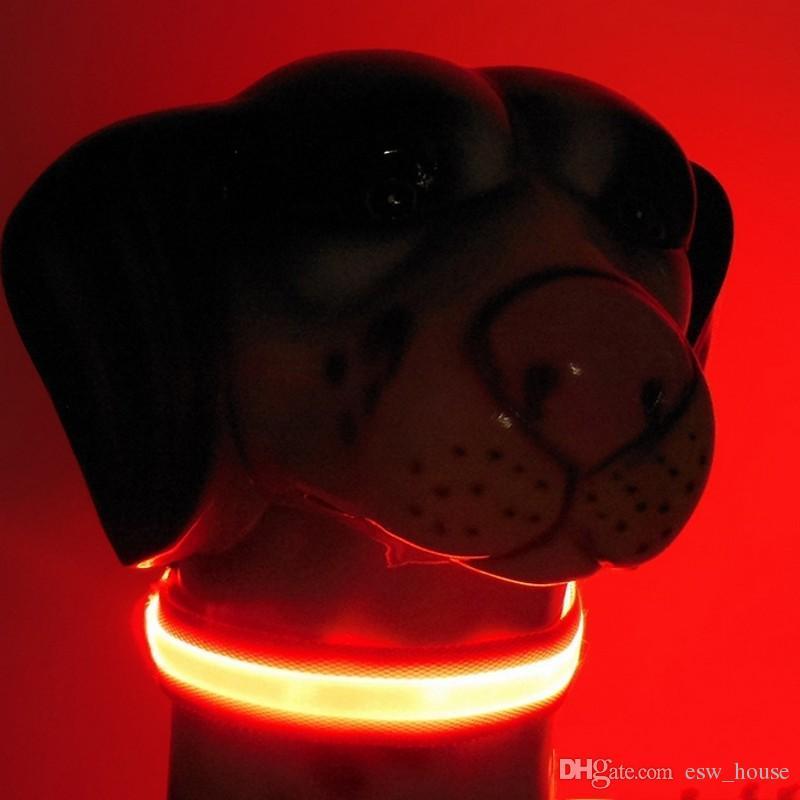 الصمام نايلون كلب طوق الكلب القط تسخير اللمعان تضيء ليلة السلامة الياقات الحيوانات الأليفة متعدد الألوان XS-XL الحجم زينة عيد الميلاد