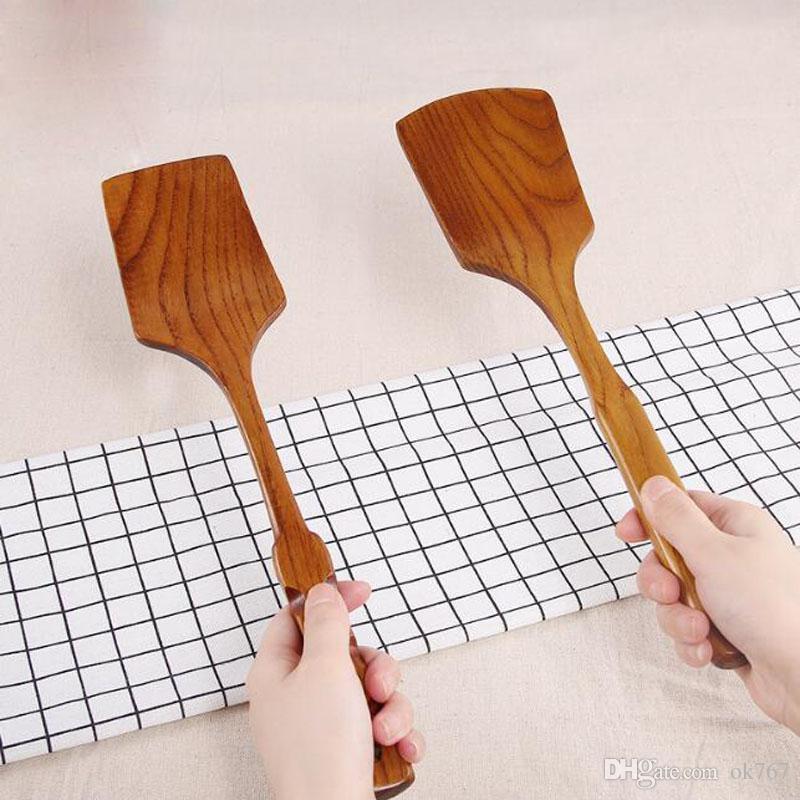 35cm Turner de madera natural saludable Pala de madera de mango largo Espátula Cuchara de arroz Utensilio de cocina Utensilios de cocina para cualquier sartén