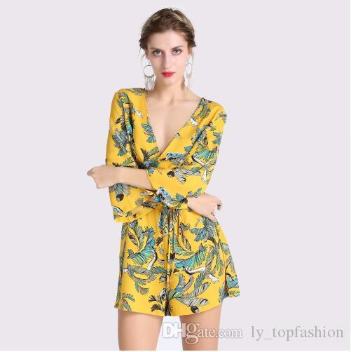 6b64e0c8f3f5 2019 2018 New Arrivals Women Short Playsuit Women S Sexy Yellow Bodysuit  Female Casual V Neck Lace Up Print Jumpsuit Lady Overalls From  Ly topfashion