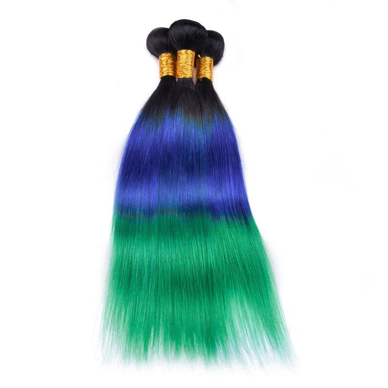Three Tone #1B/Blue/Green Ombre Brazilian Virgin Human Hair Bundles Deals Silky Straight Human Hair Weaves Weft Extensions