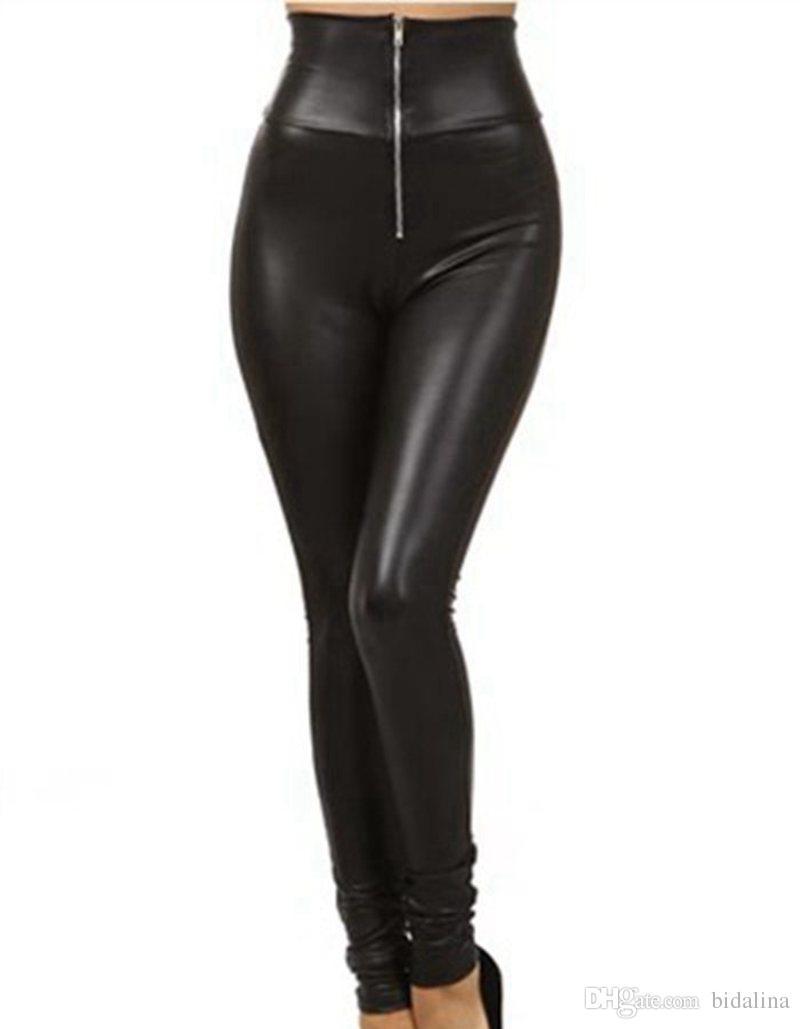 fa1ae0990bb Acheter Dame Grande Taille Taille Haute Faux Cuir Leggings Femmes Avant  Fermeture Éclair Sexy Slim Crayon Legging Fashion Pantalon Punk De  40.73  Du ...