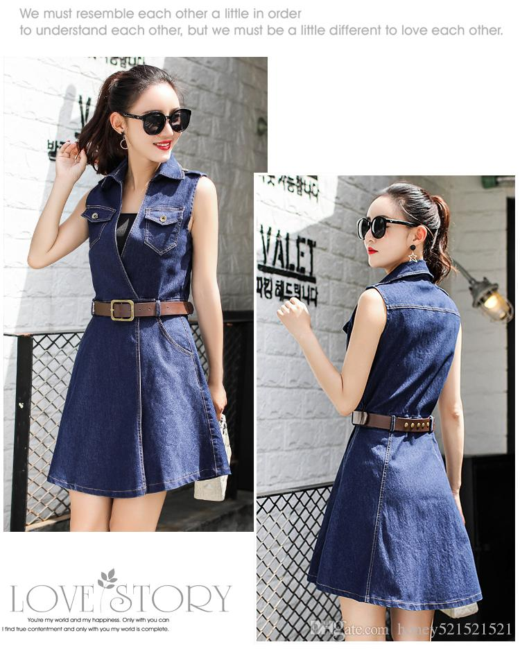 New korean fashion women's turn down collar sleeveless with belt sashes denim jeans a-line dress plus size SMLXLXXL3XL4XL