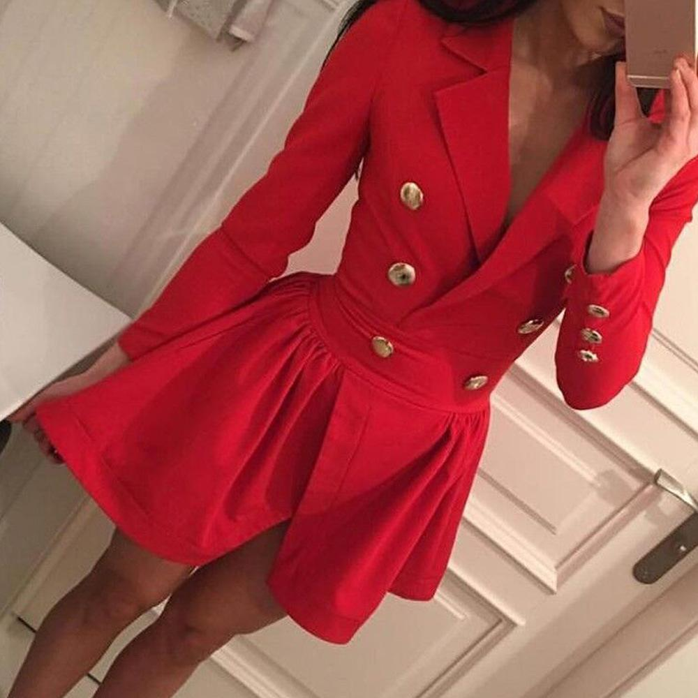 1d6d85b97899 2019 Double Breasted Split Blazer Dress Women Swing And Fit V Neck Dresses  With Button Autumn 2017 Sexy Ladies Vestidos Femme Robe From Watchlove, ...