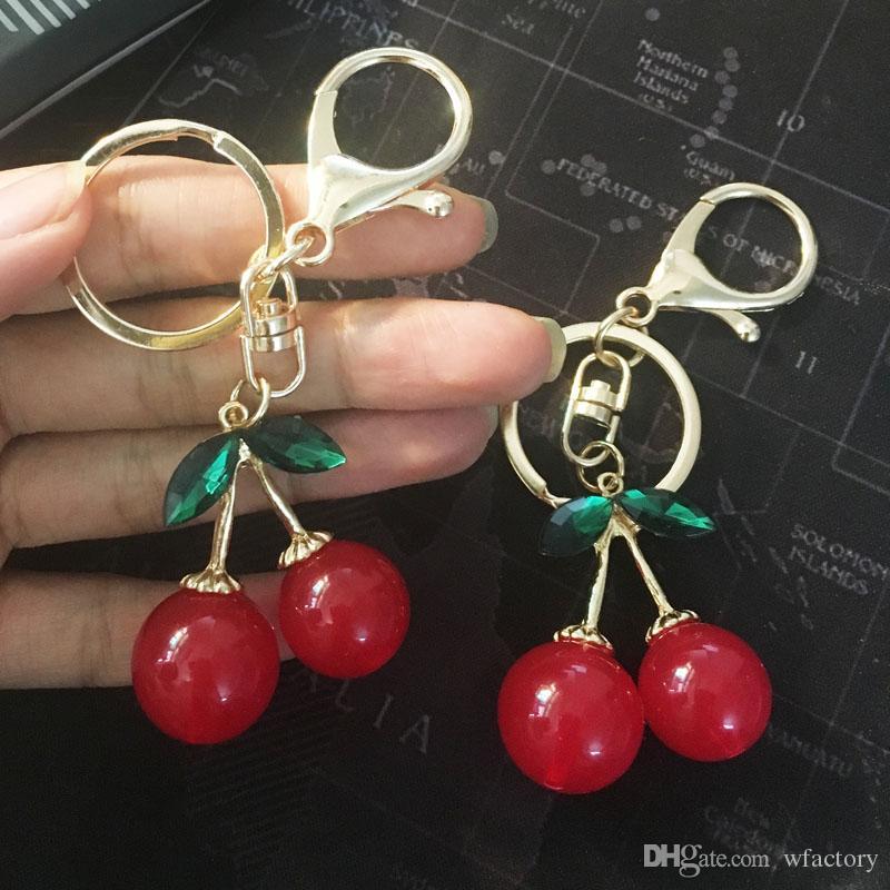 Alloy Acrylic Cherry Key Chains Rings holder llaveros - Lovely Purse Bag  Car Pendant Keyring Keychain (Red)