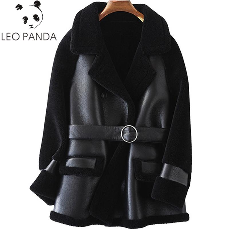 977f0436caf92b 2019 Real Sheepskin Jacket Korean Sheep Shearling Fur Wool Liner PU Leather  2018 Autumn Winter Coat Women ClothesElegant Long Coats From Zhenhuang, ...