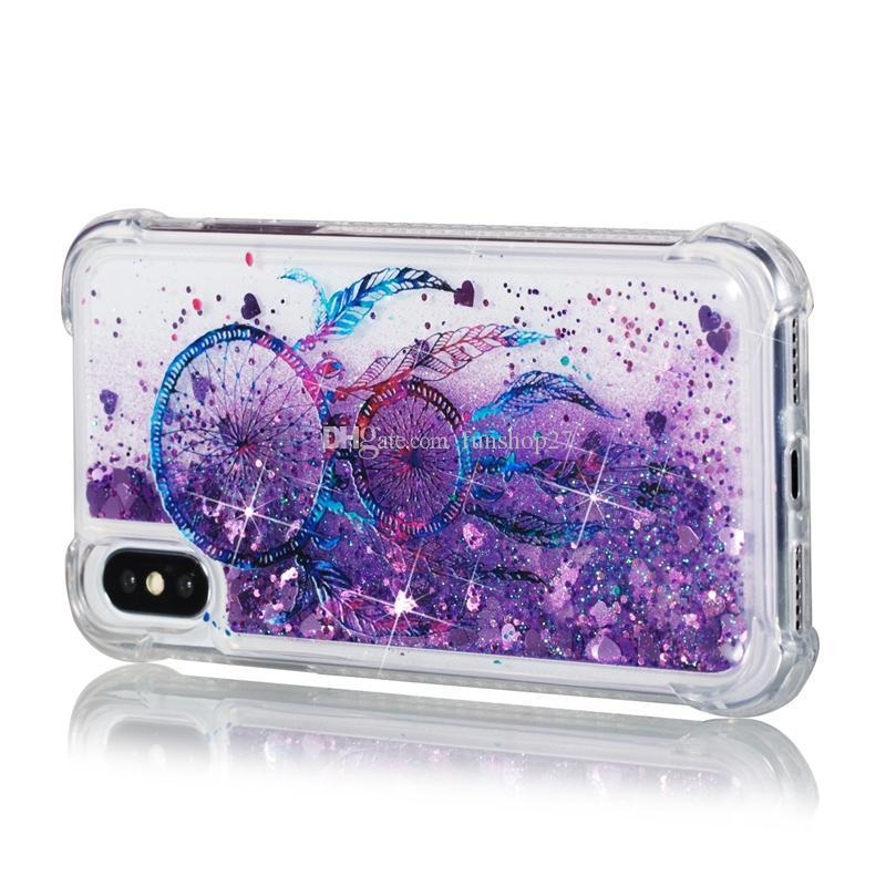 Campanula Design Glitter Star Quicksand Liquid Phone Cases For iPhone X 8 7 6 6s plus Samsung s8 note 8