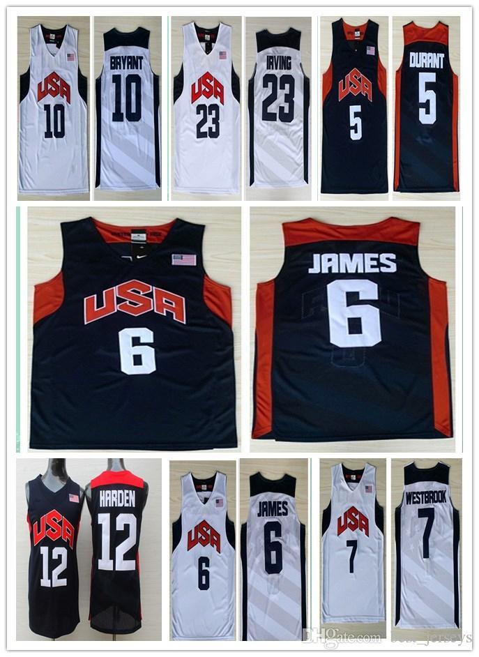 287a63d8d 2012 USA Dream Team Jerseys  5 Kevin Durant  6 James 12 James Harden ...