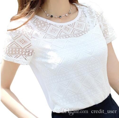 Compre Roupas Femininas Chiffon Blusa De Renda Crochê Camisas Coreano Feminino  Blusas Tops Camisa Blusas Brancas Slim Fit Tops De Credit user 57de12354ca